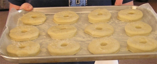 Donuts ready for the fryer