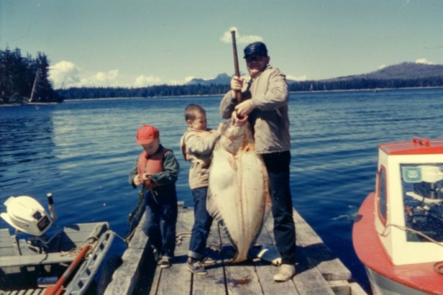 Grandpa with enough halibut for many meals