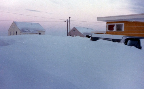 Snow piles high in Kotzebue