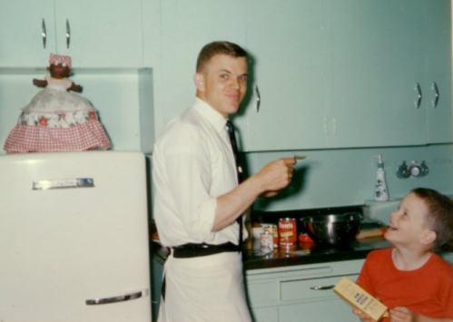 Missionaries share the kitchen